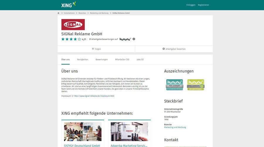 "2013: Auszeichnung ""Top Company"" durch XING"